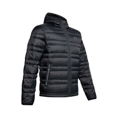 Under Armour Men's Armour Down Hooded Jacket Black / Pitch Grey M, Black / Pitch Grey, bcf_hi-res