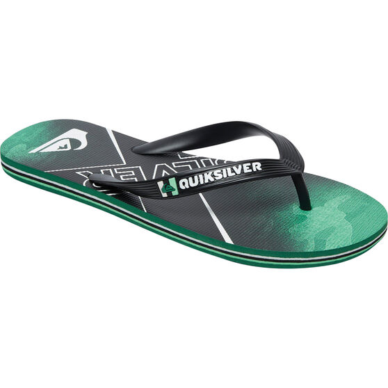 Quiksilver Men's Molokai Bullseye II Thongs, Black / Green, bcf_hi-res