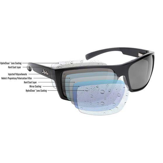 Hobie Mojo Sunglasses - Mens Satin Black / Cobalt Mirror Lens XL, , bcf_hi-res