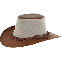 OUTBACK LEATHER Men's Indiana Leather and Mesh Hat Brown M, Brown, bcf_hi-res