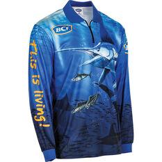 BCF Men's Marlin Sublimated Polo Blue S, Blue, bcf_hi-res