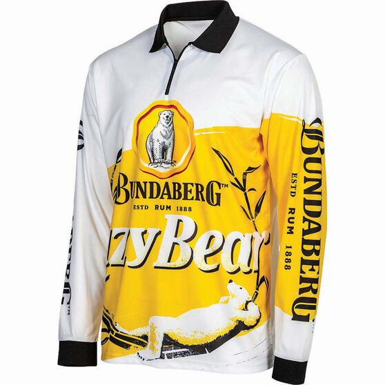Bundaberg Rum Men's Lazy Bear Sublimated Polo, White, bcf_hi-res