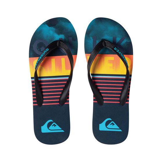 Quiksilver Waterman Men's Molokai Swell Vision Thongs, Black / Blue, bcf_hi-res