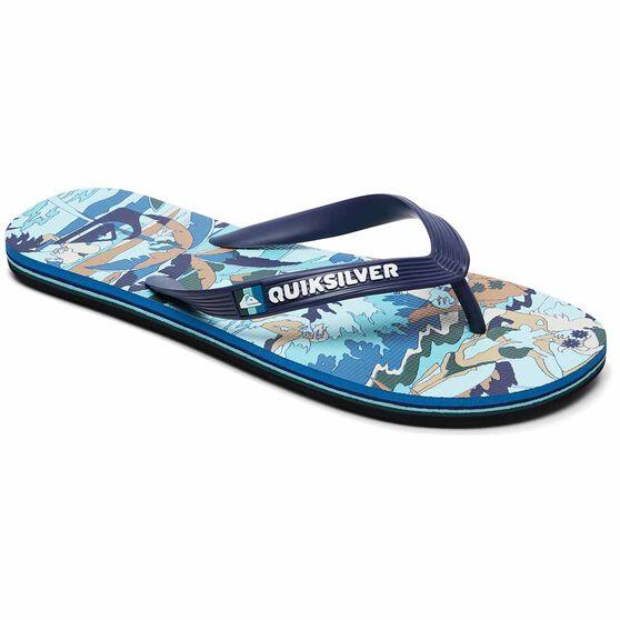 Quiksilver Waterman Molokai Feelin Fine Thongs, Black / Blue, bcf_hi-res