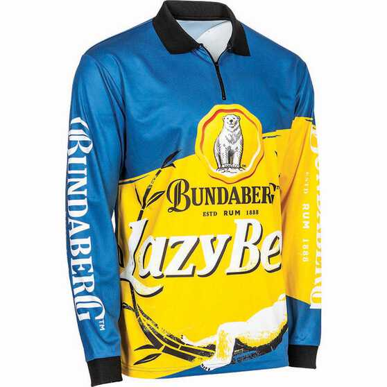 Bundaberg Rum Men's Lazy Bear Sublimated Polo Blue XL, Blue, bcf_hi-res