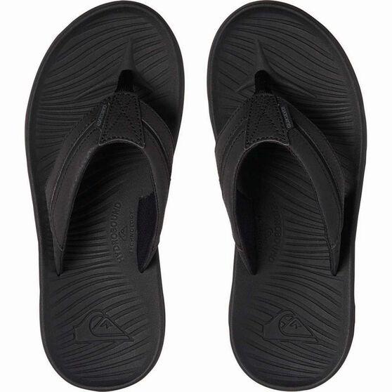 Quiksilver Waterman Men's Travel Oasis Thongs, Black / Grey / Brown, bcf_hi-res