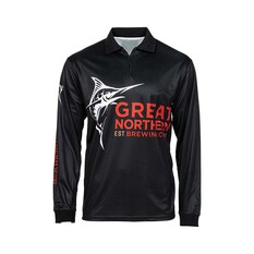 The Great Northern Brewing Co Men's  Classic Sublimated Polo Black S, Black, bcf_hi-res