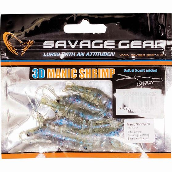 Savage Manic Shrimp Soft Plastic Lure 2in Blue Pearl Sand, Blue Pearl Sand, bcf_hi-res