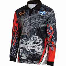BCF Men's 4WD Sublimated Polo Grey / Red L, Grey / Red, bcf_hi-res