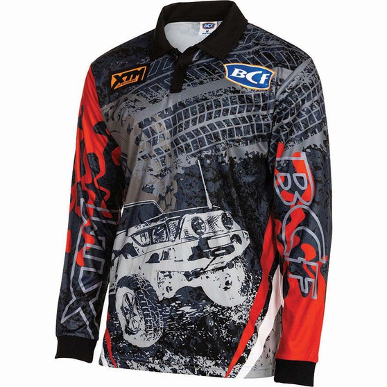 BCF Men's 4WD Sublimated Polo Grey / Red 2XL, Grey / Red, bcf_hi-res