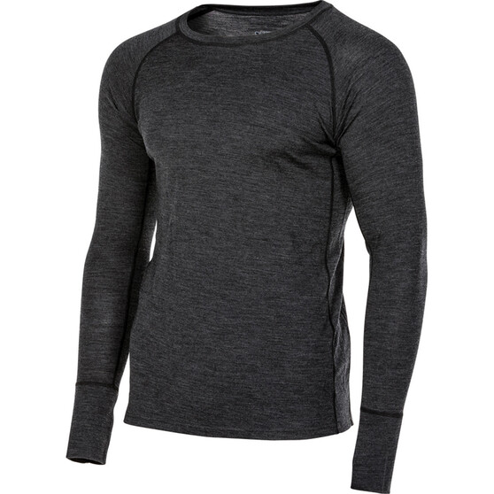 OUTRAK Men's Merino Long Sleeve Top Charcoal Marle M, Charcoal Marle, bcf_hi-res