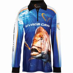 Savage Kids' Snapper Sublimated Polo Blue 8, Blue, bcf_hi-res