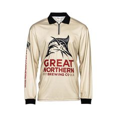 The Great Northern Brewing Co Men's Traditional Sublimated Polo Dark Sand S, Dark Sand, bcf_hi-res