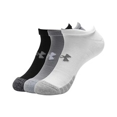 Under Armour Men's Heatgear NS Socks 3pk Steel / White / Black M, , bcf_hi-res