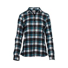 OUTRAK Women's Yarn Dye Flannel Shirt Teal 18, Teal, bcf_hi-res