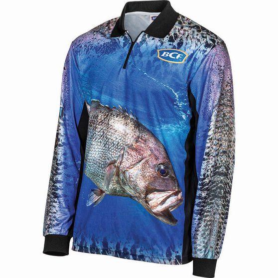 BCF Men's Dhufish Sublimated Polo, Blue, bcf_hi-res
