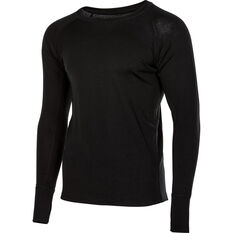 Men's Merino Long Sleeve Top Black S, Black, bcf_hi-res