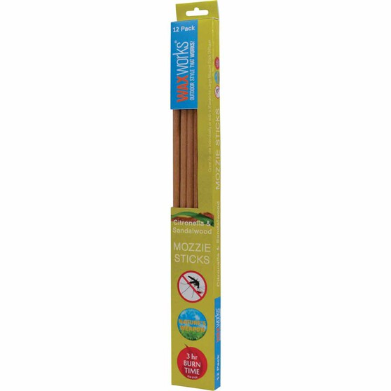 Waxworks Citronella and Sandalwood Sticks 12 Pack, , bcf_hi-res