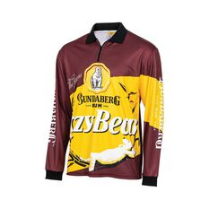 Bundaberg Rum Men's Lazy Bear Sublimated Polo Maroon S, Maroon, bcf_hi-res