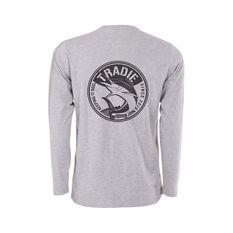 Tradie Men's Marlin Long Sleeve Tee Grey Marle S, Grey Marle, bcf_hi-res