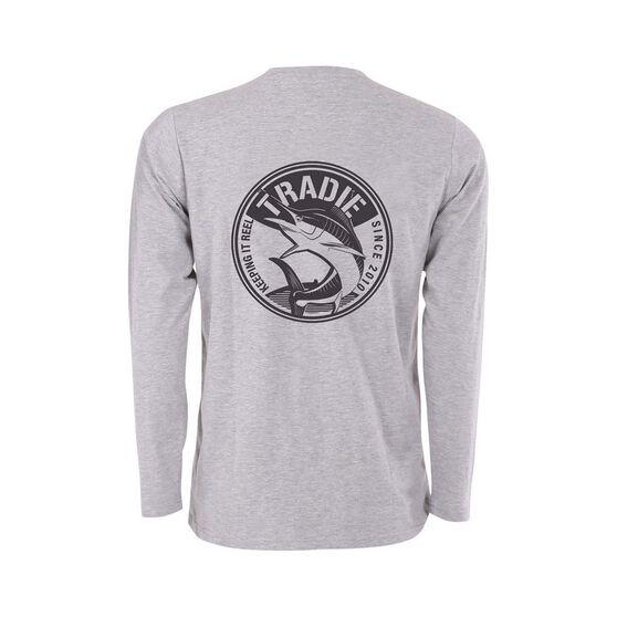 Tradie Men's Marlin Long Sleeve Tee, Grey Marle, bcf_hi-res