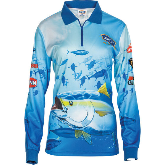 BCF Women's Tuna Sublimated Polo Blue 12, Blue, bcf_hi-res