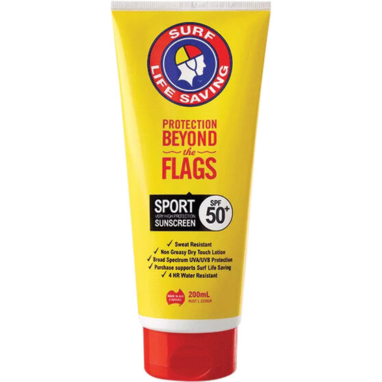 Surf Life Saving SPF50+ Sport Tube Sunscreen 200ml, , bcf_hi-res
