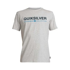 Quiksilver Waterman Men's Short Line Tee Light Grey Heather S, Light Grey Heather, bcf_hi-res