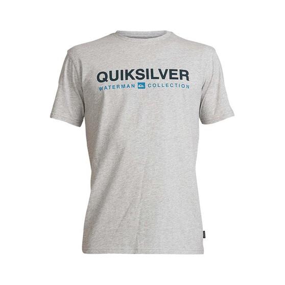 Quiksilver Waterman Men's Short Line Tee, Light Grey Heather, bcf_hi-res