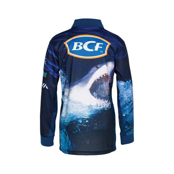 BCF Youth's Shark Sublimated Polo, Navy, bcf_hi-res