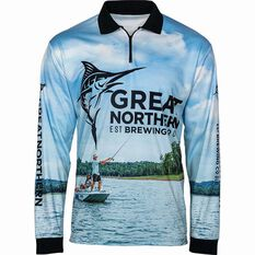 The Great Northern Brewing Co Men's Fishing Sublimated Polo Blue S, Blue, bcf_hi-res
