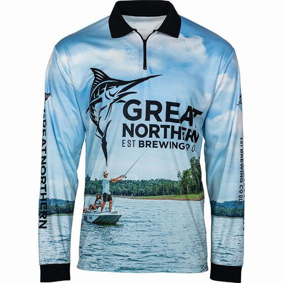 The Great Northern Brewing Co Men's Fishing Sublimated Polo, Blue, bcf_hi-res
