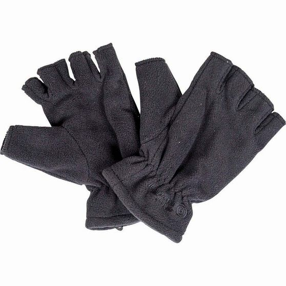Outdoor Expedition Unisex Polar Fingerless Gloves, Black, bcf_hi-res