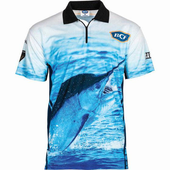 BCF Men's Marlin Short Sleeve Sublimated Polo Blue M, Blue, bcf_hi-res