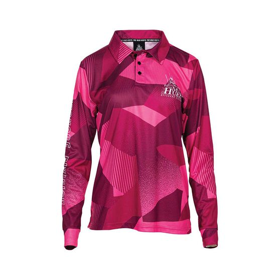 The Mad Hueys Women's Offshore Ocean Camo Fishing Jersey, Pink, bcf_hi-res