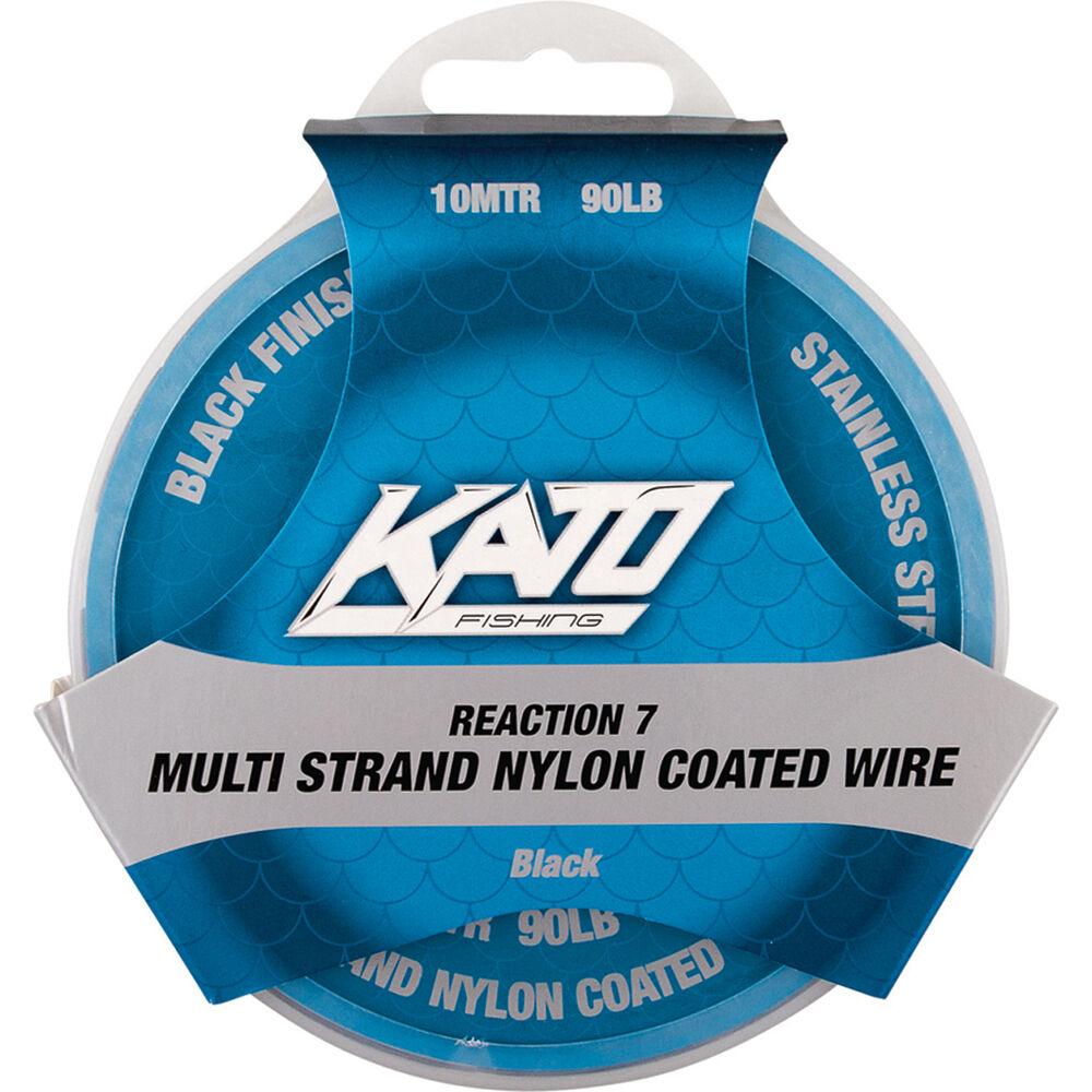 Kato 7 Strand Nylon Coated Wire Black 10m 20lb   BCF