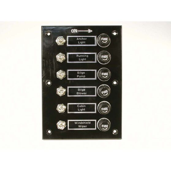 BEP Switch Panel 6 Gang Bakelite, , bcf_hi-res