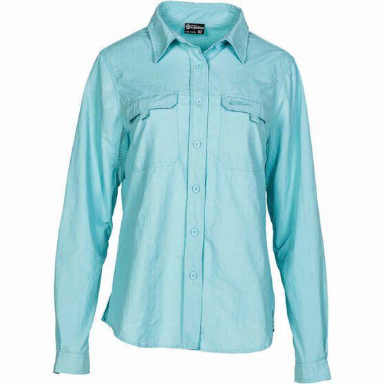 Outdoor Expedition Women's Vented Long Sleeve Shirt Aqua 8, Aqua, bcf_hi-res