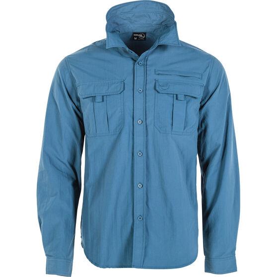 Explore 360 Men's Vented Long Sleeve Fishing Shirt Dark Blue S, Dark Blue, bcf_hi-res
