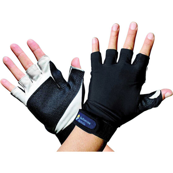 Sunprotection Australia Unisex Sports 50+ Gloves Black XL, Black, bcf_hi-res