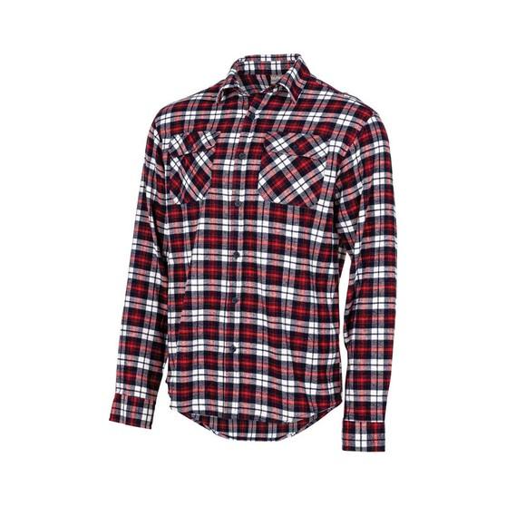 OUTRAK Men's Yarn Dye Flannel Shirt Red / Navy XL, Red / Navy, bcf_hi-res