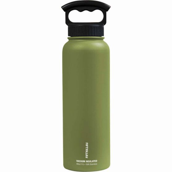 Fifty Fifty Insulated Drink Bottle 1.1L Olive, Olive, bcf_hi-res