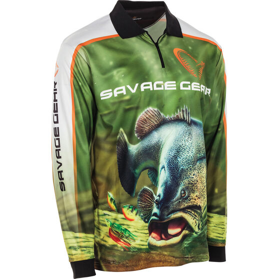 Savage Men's Murray Cod Sublimated Polo Green 2XL, Green, bcf_hi-res
