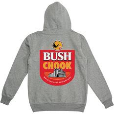 Bush Chook Men's Bush Mob Hoodie Grey Marle S, Grey Marle, bcf_hi-res
