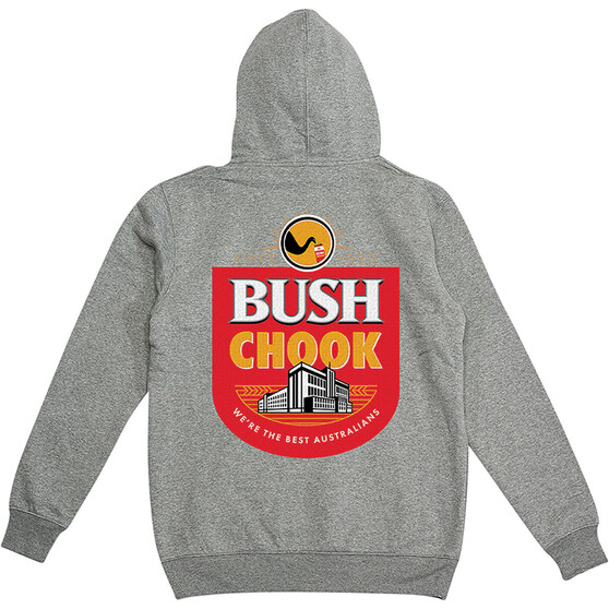Bush Chook Men's Bush Mob Hoodie, Grey Marle, bcf_hi-res