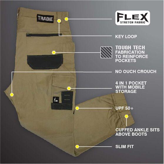 Tradie Men's Skinny Cuffed Cargo Pants, Khaki, bcf_hi-res
