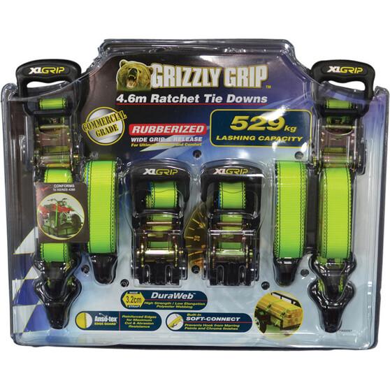 Gripwell Grizzly Grip Ratchet Tie Down 4.6m 529kg 4 Pack, , bcf_hi-res