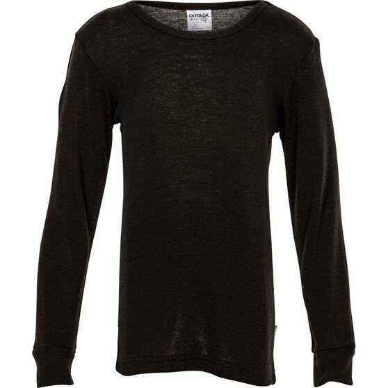 OUTRAK Kids' Polypro Long Sleeve Top, Black, bcf_hi-res
