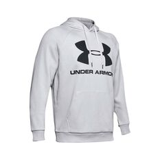 Under Armour Men's Rival Fleece Logo Hoodie Halo Grey / Black XS, Halo Grey / Black, bcf_hi-res