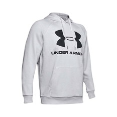 Under Armour Men's Rival Logo Fleece Hoodie Halo Grey / Black XS, Halo Grey / Black, bcf_hi-res